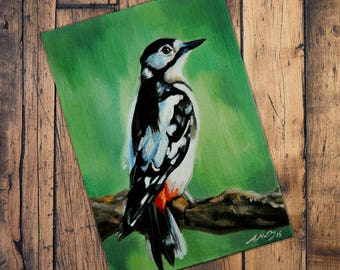Great Spotted Woodpecker - Original Oil Painting - Bird Painting - Birds Art