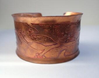 Acid etched copper cuff