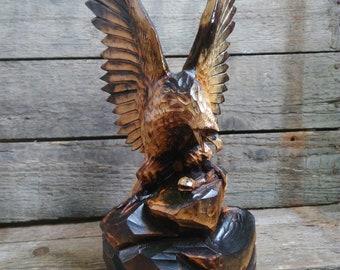 Wooden Eagle Soviet Vintage Hand Carved Eagle,SSSR Wooden Eagle,Handmade Wooden Eagle,Eagle statuette,Eagle figurine