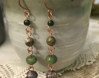 JADE and PETIERSITE EARRINGS