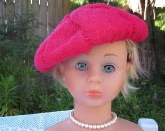 Handmade Knitted Scarlet Beret for Girl aged 8-12 years in Glen Mist Shepherd 8 ply crepe