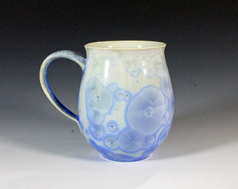 Bright Blue Crystalline Glazed Mug: 12 oz