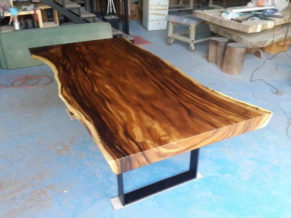 Live edge dining table reclaimed acacia wood solid slab for Live edge wood slabs new york