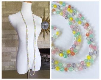 Long Flapper Necklace * Colorful Glass Beads * Vintage 1920s Sautoir