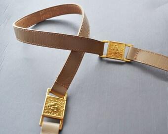 Vintage Anne Klein  Leather Belt Lion Head logo