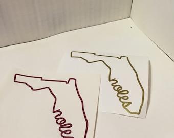 Florida State Outline Florida State Seminoles Noles Decal
