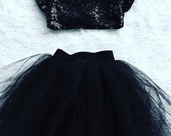 Audrey Hepburn Inspired Black Sewn Baby Tutu