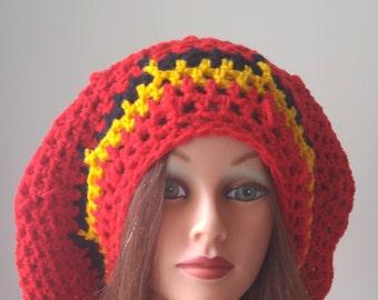 Accessories, Handmade crochet slouchy, rasta hat, red, gold black