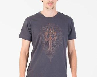 Mens Screen Printed T-shirt In Grey, Cotton Tshirt, festival Men Clothing, Psy Trance, Goa Fashion, Mens Tess