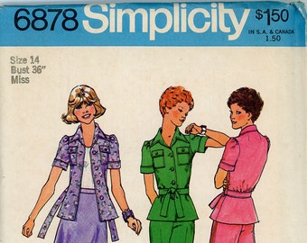 ORIGINAL Vintage Simplicity Sewing Pattern - #6878- 1975 - UNCUT - FFOLDED