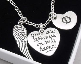 You are always in my heart remembrance necklace | bereavement necklace | memorial necklace | remembrance jewelry | loss | sympathy