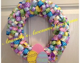 Colorful Easter Wreath; Spring Sale; Spring Decor; Easter Decor