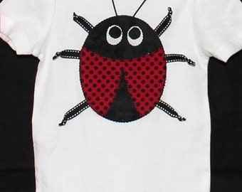 White Bodysuit and Appliqued Ladybug with Ribbon Legs in Cotton Fabric Size 9-12mos Circo Brand