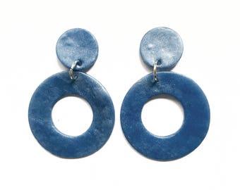 Blue Earrings | Clay Earrings | Circle Earrings | Dangle Earrings | Statement Earrings | Large Earrings | Simple Earrings | Geometric