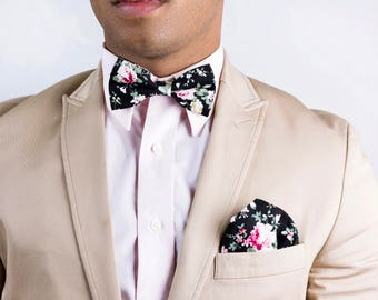 Classic bow tie etsy mens black floral bow tieboyfriend gift gift for men prom bow tie ccuart Image collections