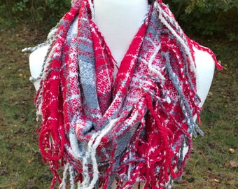 Red Cream and Gray Plaid Tassel Infinity Scarf