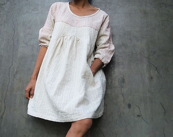 Mini dress/Tunic blouse Tone poem...100% cotton,  Ivory dress with hand stitches detail (1402)