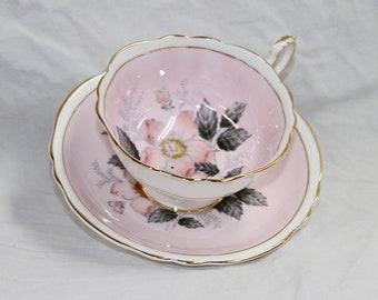 Paragon Tea Cup and Saucer Set - Demitasse Espresso Set - Pattern Pink A703 - England Bone China - Vintage 1950s