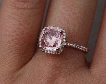 3ct Square Cushion Peach Champagne Sapphire 14k rose gold diamond Engagement Rings by Eidelprecious