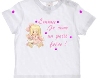 tee shirt baby I want a little brother personalized with name