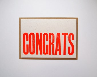 NEON Congrats letterpress greetings card print