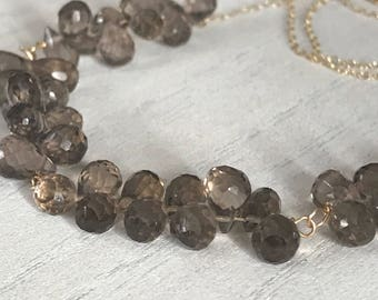 Smoky Quartz necklace. Teardrop stones. Dainty teardrop necklace. Smoky Quartz and Gold.