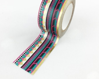 Gold Foil Wide Tribal Washi Tape // 25mm // Paper Tape // BBBsupplies {CR-W-F061}