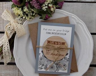 Rustic Save-the-Date Magnet, Custom Wedding Magnet, Wooden Magnet, Gray Save The Date Magnet, Rustic Wooden Save The Date Magnet, Floral