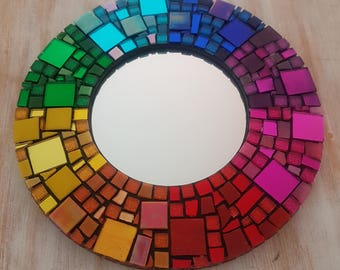 Rainbow Mosaic Framed Mirror - Wall Art