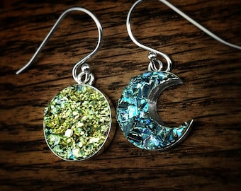 Bismuth Crystal Sun and Moon Earrings