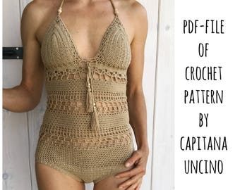PDF-file, Crochet PATTERN for Giana Swimsuit, onepiece, body,  Sizes XS-L,