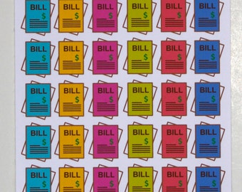 Colorful Bill Reminder Stickers, Erin Condren, Plum Planner, Happy Planner, Budget Stickers, Planner, Stickers for Planners,or just for fun!