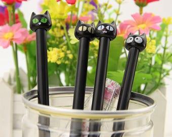 Cute Kawaii Black Cat Fine Point Gel Pen // Kawaii Cat Black Ink .38mm Gel Pen // 4 Cat Designs Planner Pen