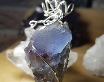India fluorite in cube set in tangled Silver Pendant