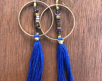 Cobalt and hematite fringe hoops