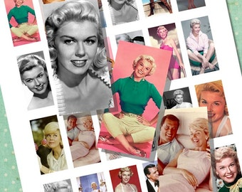 Doris Day Big Band Movie Star Rock Hudson Domino Tile Digital Collage Printable Sheet for Necklaces, Altered Art, Jewelry