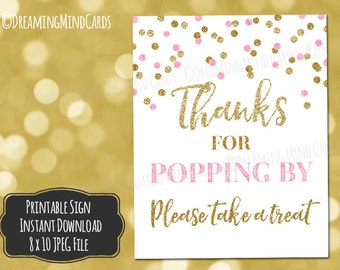 Printable Thanks for Popping By Popcorn Bar Sign 8x10 Light Pink Gold Glitter Confetti Baby Shower Digital Download