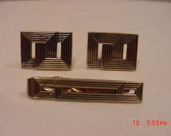 Vintage Swank Tie Clip & Cuff Links Set  18 - 104
