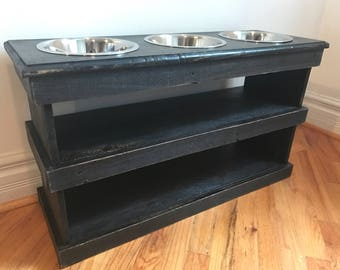 """Reclaimed pallet dog bowl stand with double storage includes 2qt bowls 32""""l X 12"""" w X 18""""t ebony finish"""