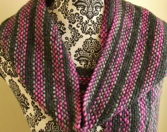Hand Woven Striped Scarf in Pink & Gray