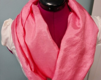 "Chinese Silk Infinity Scarf 72"" double loop Spring Colors Lightweight"