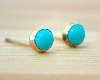 Turquoise Gold Studs, December Birthstone, Gold Stud Earrings, Turquise Earrings, Turquise Studs, Blue Earrings, Mothers Day Sale