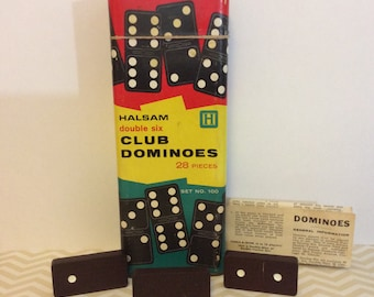 Vintage Halsam Double Six Club Dominoes Set #100 28 piece Original Box With Instruction Paper.