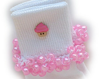 Kathy's Beaded Socks  -  Pink Cupcake, white socks, girls socks, cupcake socks, pink socks, school socks, holiday socks