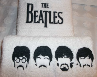 The BEATLES Towels John Paul George Ringo Fab Four Music All You Need Is Love Embroidered 2 Piece Hand Towel Set Choice of Colors