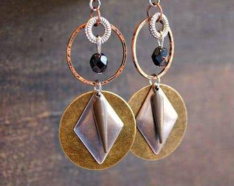 Geometric Metal Earrings Hammered Earrings Geometric Earrings Tribal Hoop Earrings Mixed Metal Earrings Boho Earrings Hammered Geometric