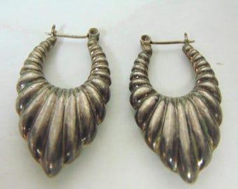 Pair of Vintage Estate .925 Sterling Silver Dangle Hoop Earrings, 9.1g E3145