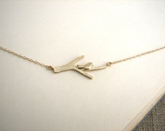 Gold Bird on Branch Necklace, Little Bird Necklace, Woodland Necklace, Woodland Wedding Jewelry, Cute Necklace - 14K Gold Filled Chain