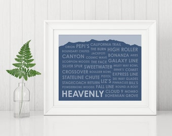 Heavenly Ski Trails Print ~ Heavenly CA Art Print ~ Heavenly Ski Resort ~ Heavenly California ~ Gift for Skier ~ Lake Tahoe Poster ~ Ski Art