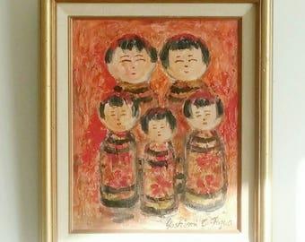 Framed Kokeshi Doll Oil Painting (Red Version)